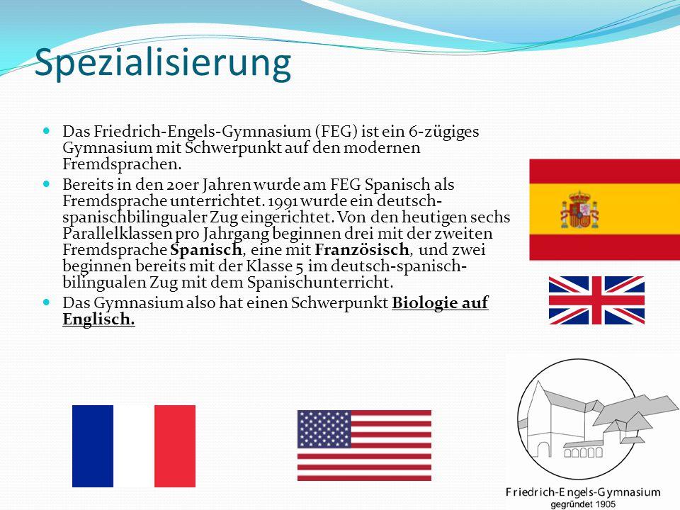 Spezialisierung Das Friedrich-Engels-Gymnasium (FEG) ist ein 6-zügiges Gymnasium mit Schwerpunkt auf den modernen Fremdsprachen. Bereits in den 20er J