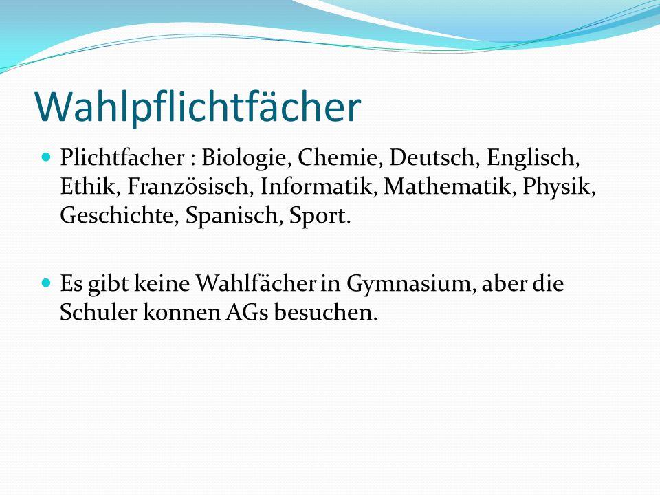 Wahlpflichtfächer Plichtfacher : Biologie, Chemie, Deutsch, Englisch, Ethik, Französisch, Informatik, Mathematik, Physik, Geschichte, Spanisch, Sport.