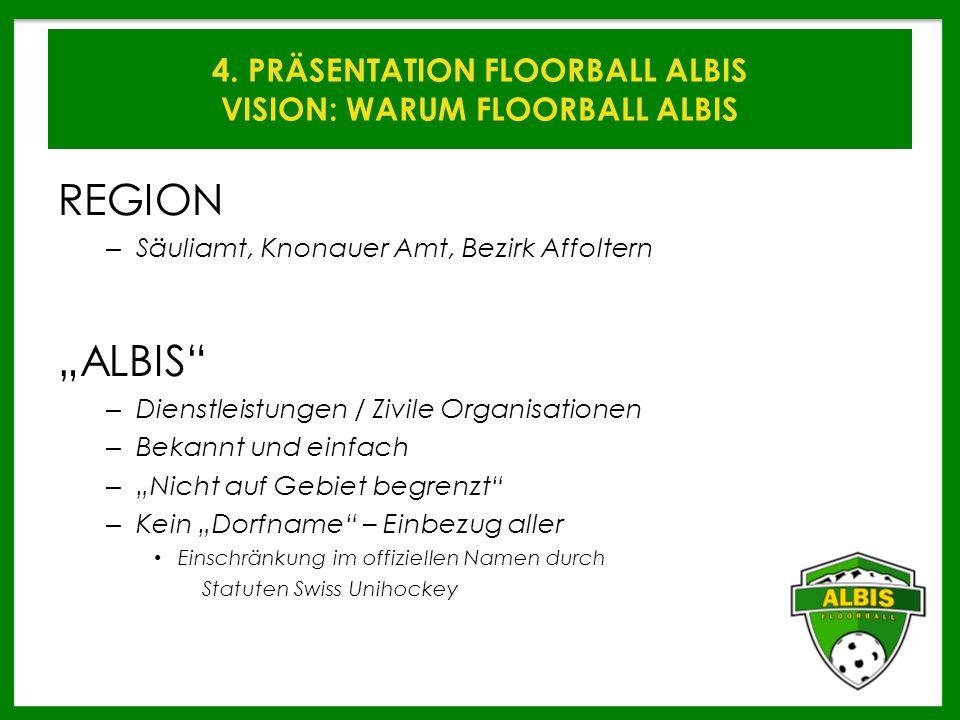 """4. PRÄSENTATION FLOORBALL ALBIS VISION: WARUM FLOORBALL ALBIS REGION – Säuliamt, Knonauer Amt, Bezirk Affoltern """"ALBIS"""" – Dienstleistungen / Zivile Or"""
