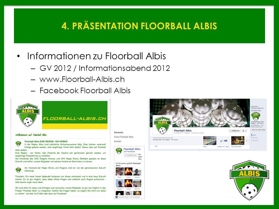 4. PRÄSENTATION FLOORBALL ALBIS Informationen zu Floorball Albis – GV 2012 / Informationsabend 2012 – www.Floorball-Albis.ch – Facebook Floorball Albi