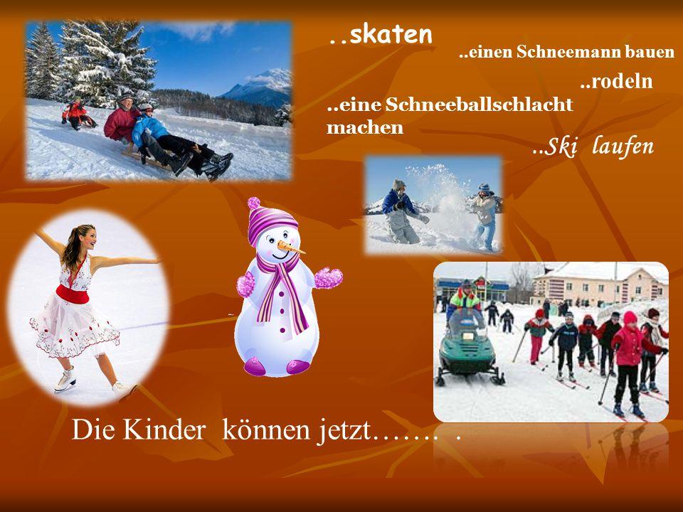 Die Kinder können jetzt……....rodeln..skaten..Ski laufen..einen Schneemann bauen..eine Schneeballschlacht machen