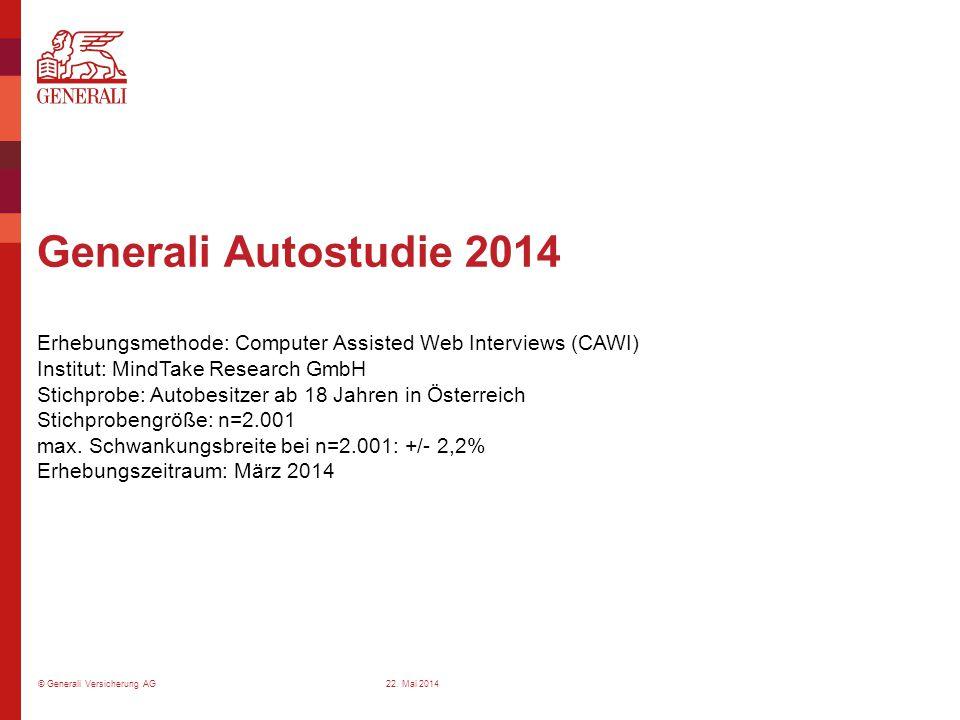© Generali Versicherung AG Generali Autostudie 2014 Erhebungsmethode: Computer Assisted Web Interviews (CAWI) Institut: MindTake Research GmbH Stichpr