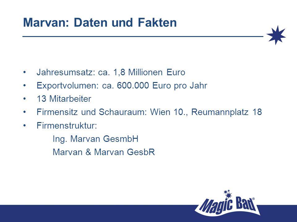 Marvan: Daten und Fakten Jahresumsatz: ca. 1,8 Millionen Euro Exportvolumen: ca. 600.000 Euro pro Jahr 13 Mitarbeiter Firmensitz und Schauraum: Wien 1