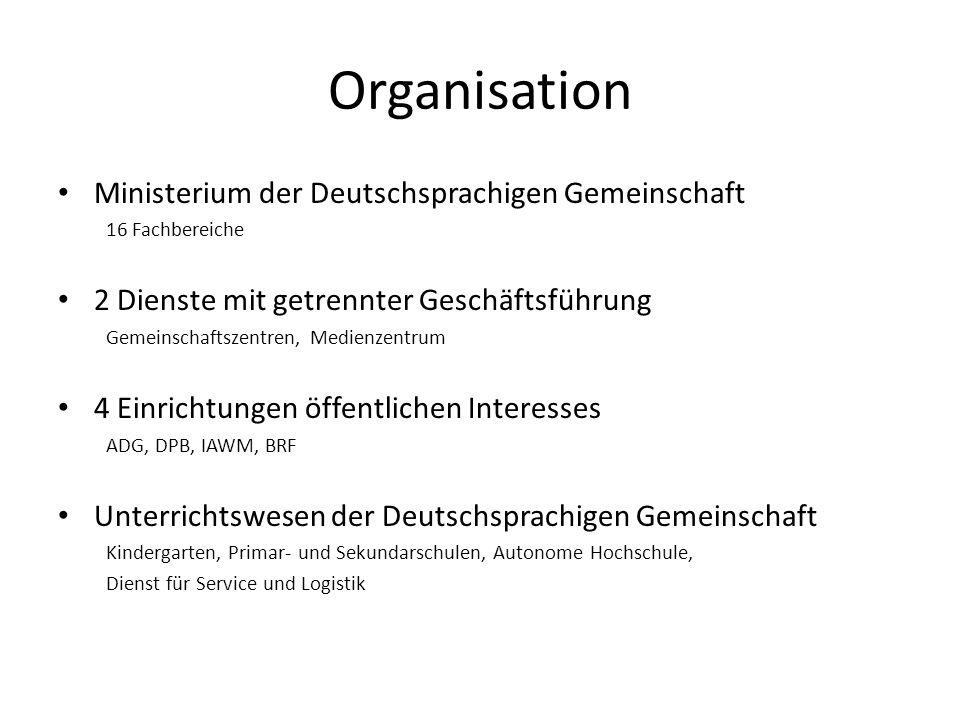 Organisation Ministerium der Deutschsprachigen Gemeinschaft 16 Fachbereiche 2 Dienste mit getrennter Geschäftsführung Gemeinschaftszentren, Medienzent