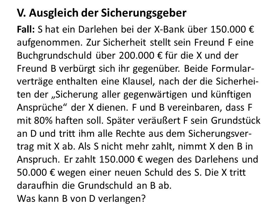 V. Ausgleich der Sicherungsgeber Fall: S hat ein Darlehen bei der X-Bank über 150.000 € aufgenommen. Zur Sicherheit stellt sein Freund F eine Buchgrun