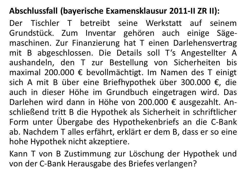 Abschlussfall (bayerische Examensklausur 2011-II ZR II): Der Tischler T betreibt seine Werkstatt auf seinem Grundstück. Zum Inventar gehören auch eini