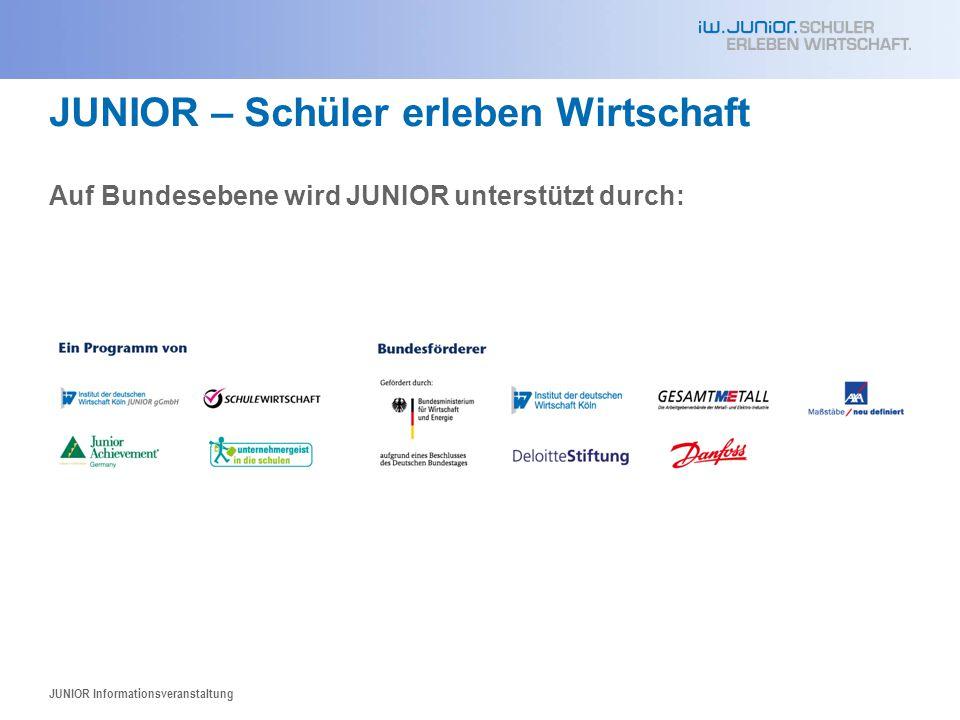 JUNIOR – Schüler erleben Wirtschaft JUNIOR wird in Niedersachsen unterstützt durch: