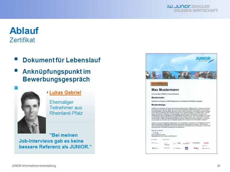 JUNIOR Informationsveranstaltung22 Ablauf Zertifikat  Dokument für Lebenslauf  Anknüpfungspunkt im Bewerbungsgespräch