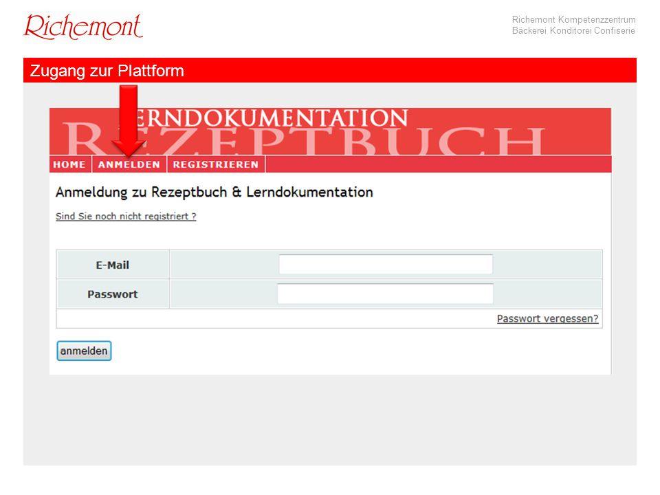 Richemont Kompetenzzentrum Bäckerei Konditorei Confiserie Zugang zur Plattform
