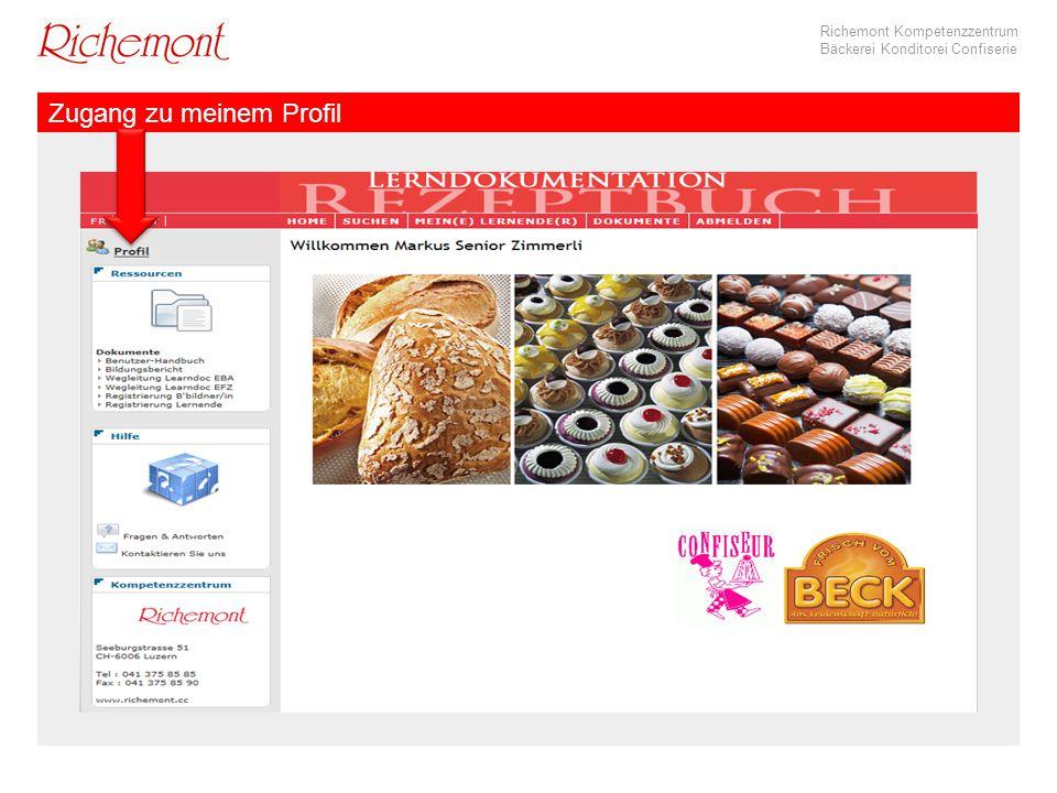 Richemont Kompetenzzentrum Bäckerei Konditorei Confiserie Zugang zu meinem Profil
