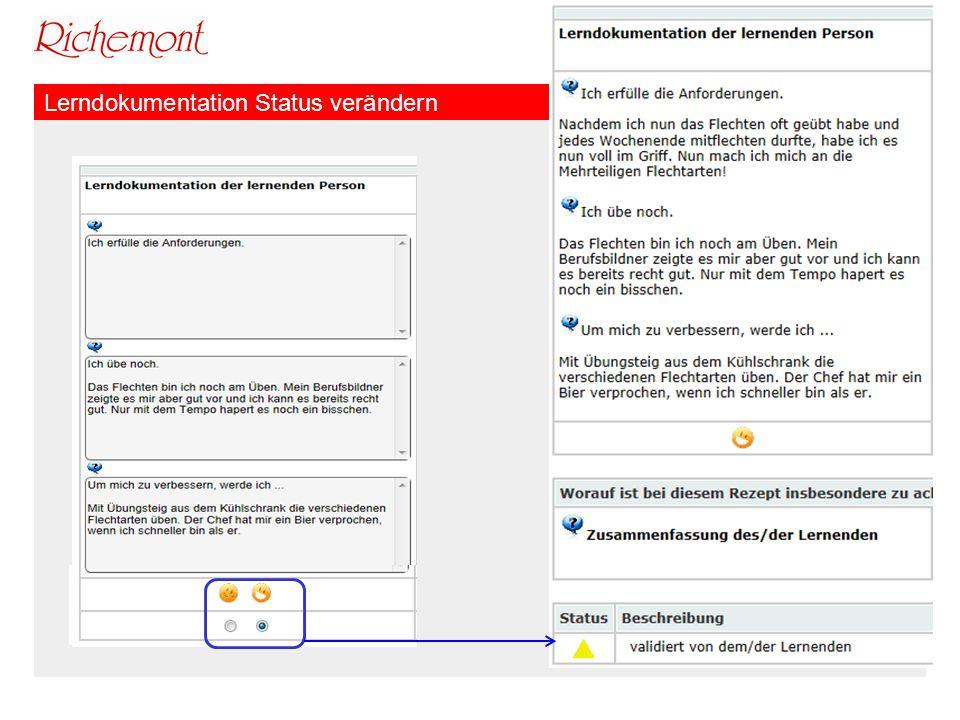 Richemont Kompetenzzentrum Bäckerei Konditorei Confiserie Lerndokumentation Status verändern
