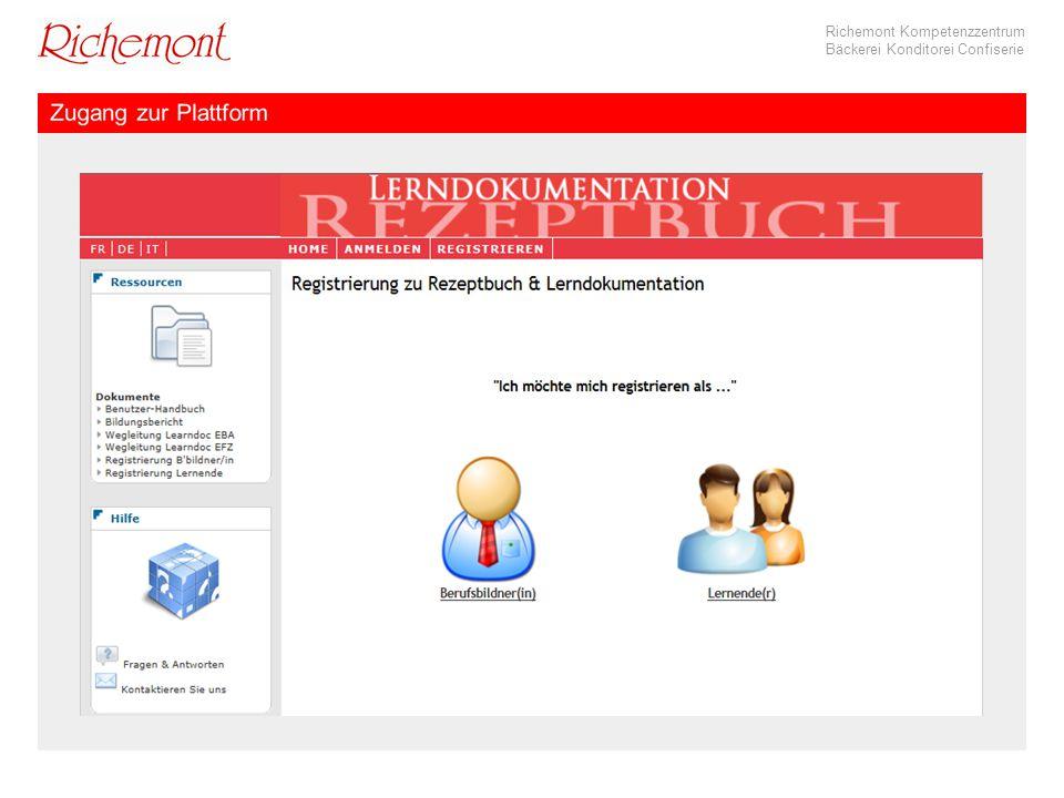 Richemont Kompetenzzentrum Bäckerei Konditorei Confiserie Rezeptformular