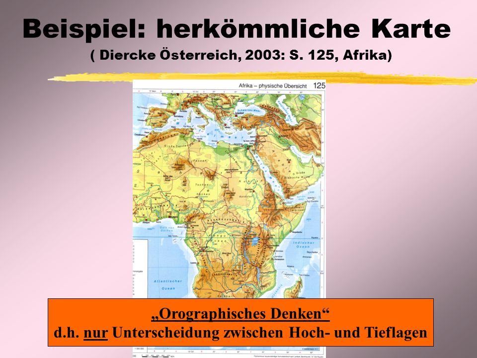 """Beispiel: herkömmliche Karte ( Diercke Österreich, 2003: S. 125, Afrika) """"Orographisches Denken"""" d.h. nur Unterscheidung zwischen Hoch- und Tieflagen"""