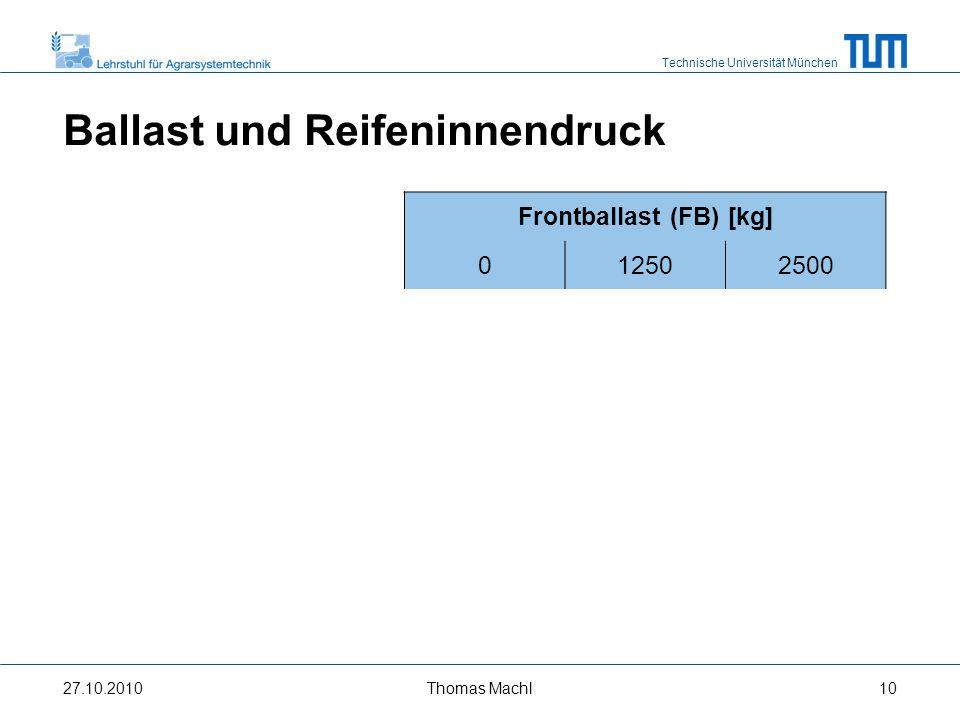Technische Universität München Versuchsflächen 27.10.2010 A B Quelle: Bayerische Vermessungsverwaltung, 2010 Thomas Machl11