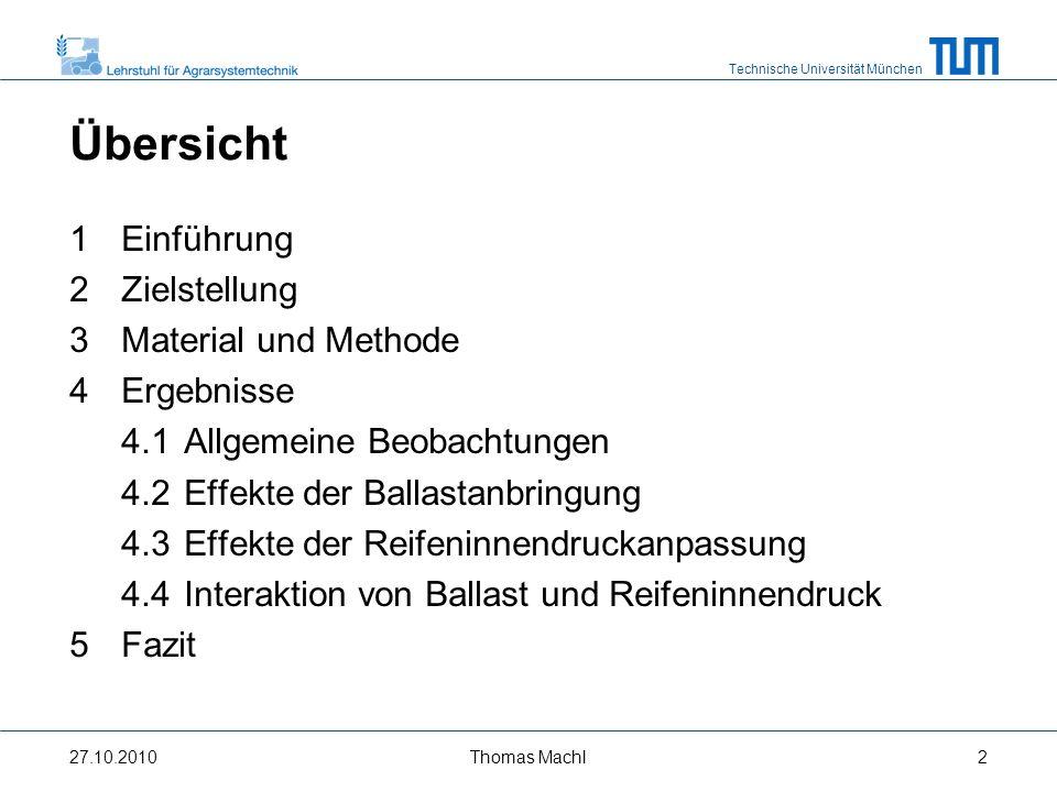 Technische Universität München 1 Einführung - Leistungsentwicklung bei Großtraktoren - 27.10.2010Thomas Machl3