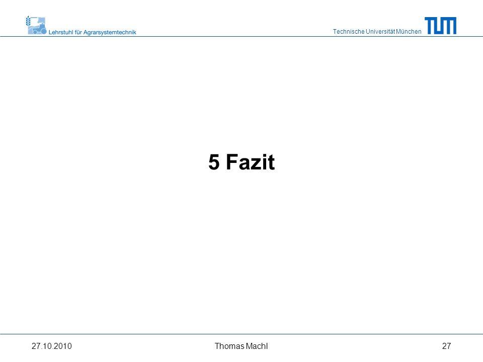 Technische Universität München Fazit (8 km/h) Maximal übertragbare Zugkraft und Zugleistung wird von der begrenzten Fähigkeit des Bodens hohe Radumfangskräfte abzustützen limitiert Ballastierung und Absenkung der Reifeninnendrücke verbessern Reifen-Boden-Kontakt und damit die Zugleistungübertragung Ballastierung des Zugfahrzeugs nur bei hohen erforderlichen Zugkräften sinnvoll Positive Effekte der Ballastanbringung lassen sich nur in Kombination mit gleichzeitiger Anpassung der Reifeninnendrücke beobachten 27.10.2010Thomas Machl28