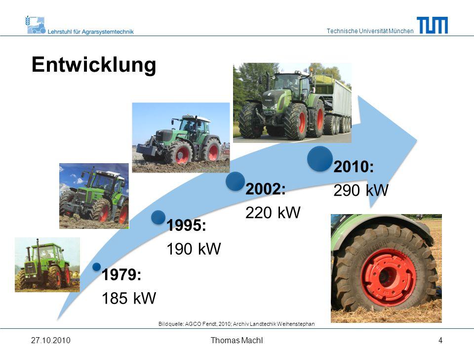 Technische Universität München 1979: 185 kW 1995: 190 kW 2002: 220 kW 2010: 290 kW 27.10.2010 Bildquelle: AGCO Fendt, 2010; Archiv Landtechnik Weihenstephan Installierte Motorleistung Pichlmaier, 2009 Thomas Machl5