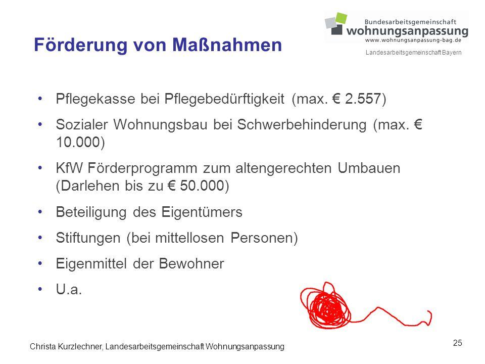 25 Landesarbeitsgemeinschaft Bayern Förderung von Maßnahmen Pflegekasse bei Pflegebedürftigkeit (max. € 2.557) Sozialer Wohnungsbau bei Schwerbehinder