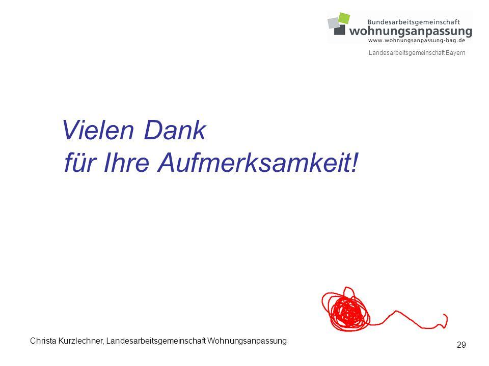 29 Landesarbeitsgemeinschaft Bayern Vielen Dank für Ihre Aufmerksamkeit! Christa Kurzlechner, Landesarbeitsgemeinschaft Wohnungsanpassung