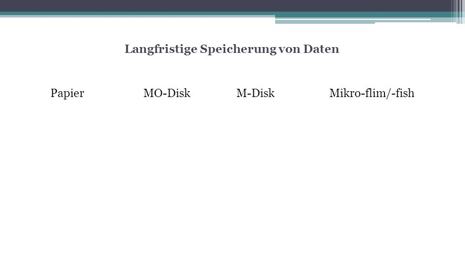 Langfristige Speicherung von Daten PapierMO-DiskM-DiskMikro-flim/-fish