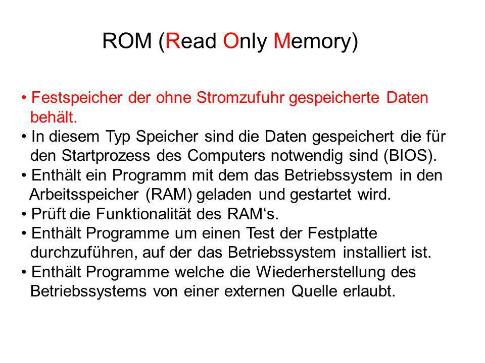 ROM (Read Only Memory) Festspeicher der ohne Stromzufuhr gespeicherte Daten behält. In diesem Typ Speicher sind die Daten gespeichert die für den Star