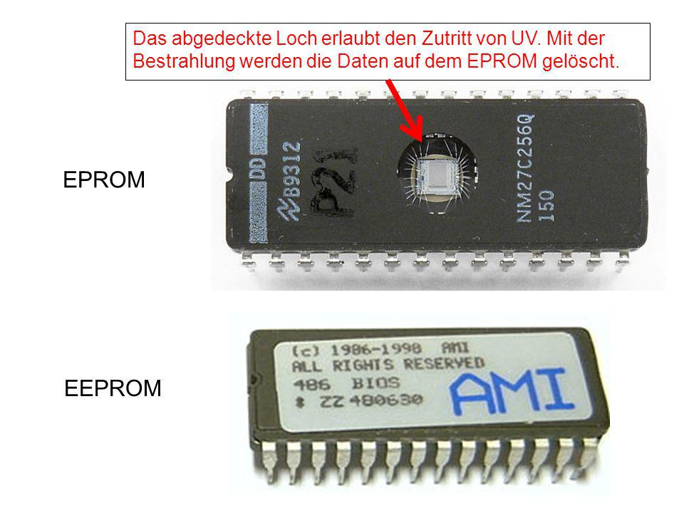 EPROM EEPROM Das abgedeckte Loch erlaubt den Zutritt von UV. Mit der Bestrahlung werden die Daten auf dem EPROM gelöscht.