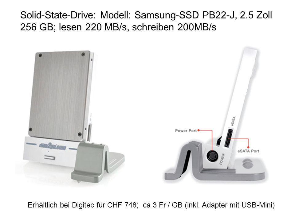 Solid-State-Drive: Modell: Samsung-SSD PB22-J, 2.5 Zoll 256 GB; lesen 220 MB/s, schreiben 200MB/s Erhältlich bei Digitec für CHF 748; ca 3 Fr / GB (in