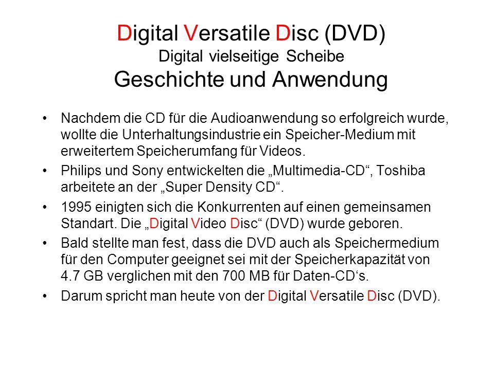 Digital Versatile Disc (DVD) Digital vielseitige Scheibe Geschichte und Anwendung Nachdem die CD für die Audioanwendung so erfolgreich wurde, wollte d
