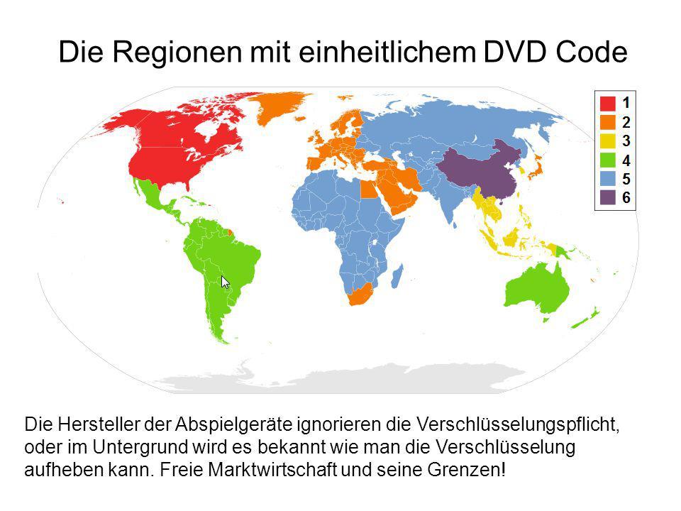 Die Regionen mit einheitlichem DVD Code Die Hersteller der Abspielgeräte ignorieren die Verschlüsselungspflicht, oder im Untergrund wird es bekannt wi