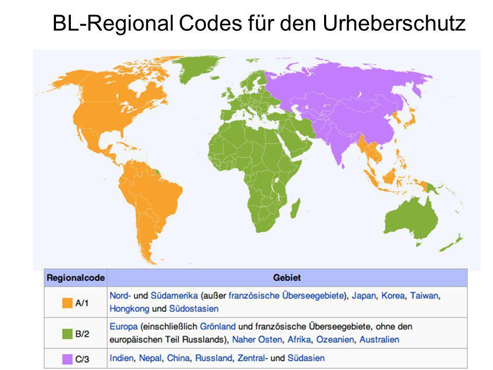 BL-Regional Codes für den Urheberschutz