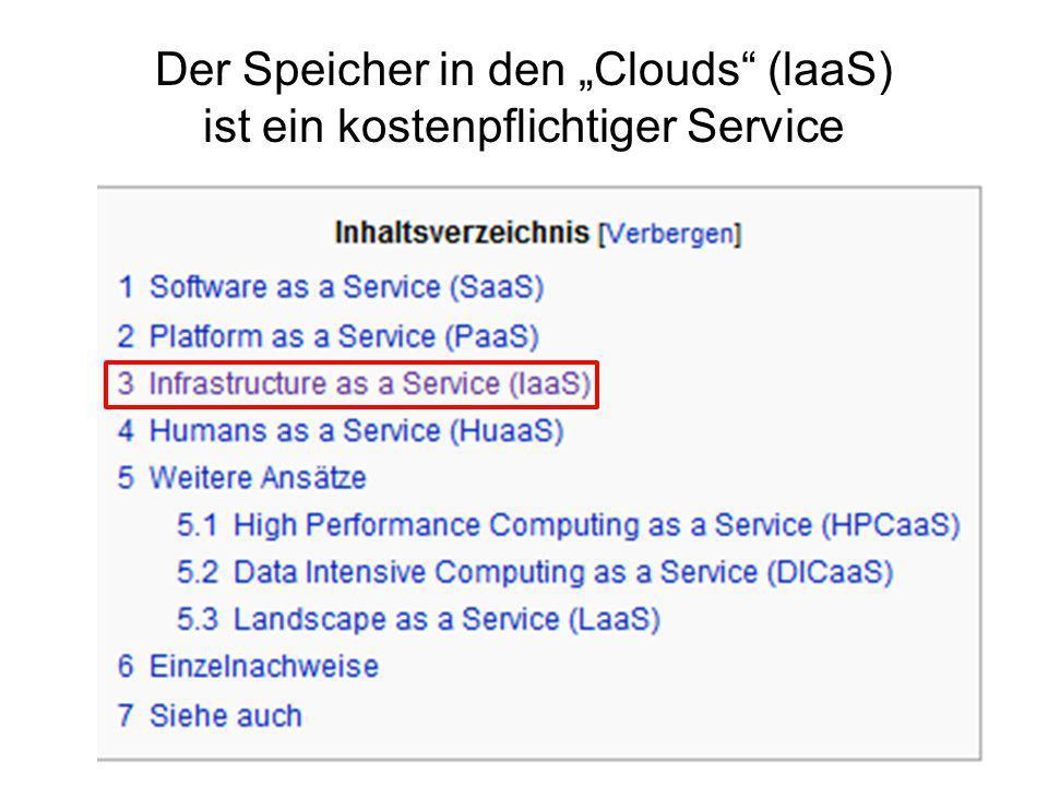 """Der Speicher in den """"Clouds"""" (laaS) ist ein kostenpflichtiger Service"""
