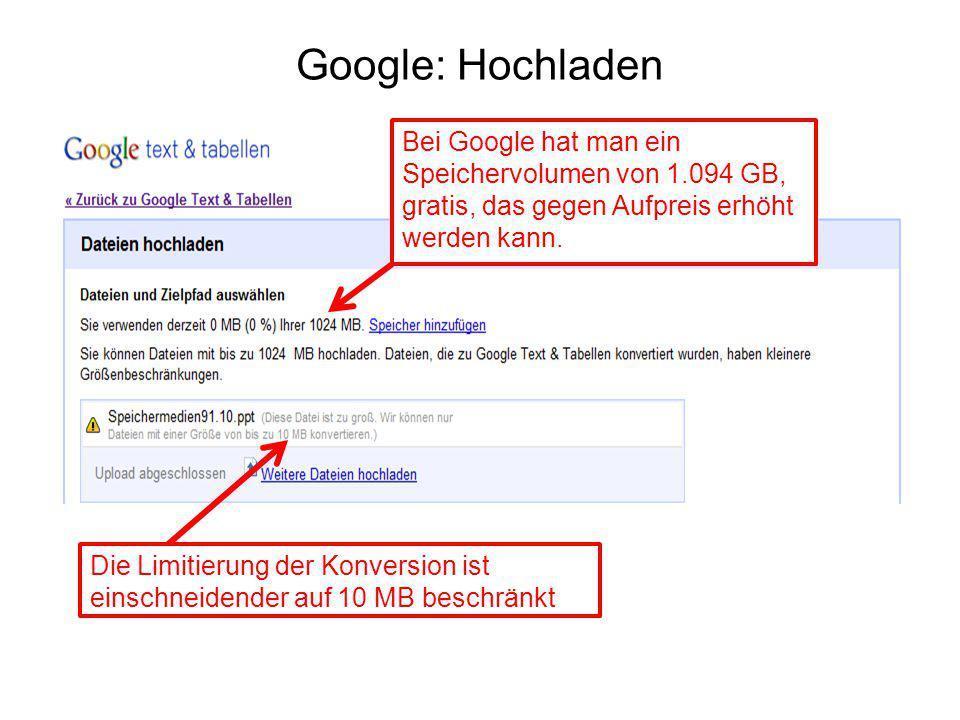 Google: Hochladen Bei Google hat man ein Speichervolumen von 1.094 GB, gratis, das gegen Aufpreis erhöht werden kann. Die Limitierung der Konversion i