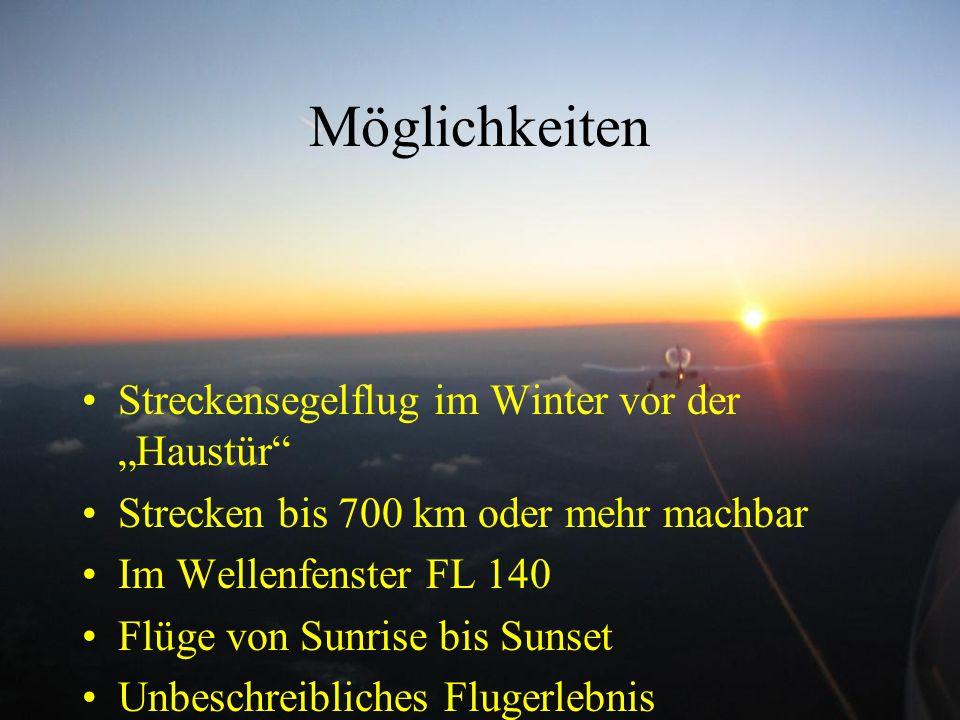 """Möglichkeiten Streckensegelflug im Winter vor der """"Haustür"""" Strecken bis 700 km oder mehr machbar Im Wellenfenster FL 140 Flüge von Sunrise bis Sunset"""