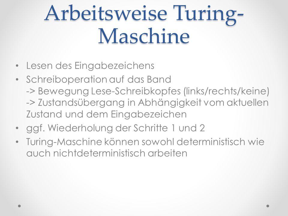 Arbeitsweise Turing- Maschine Lesen des Eingabezeichens Schreiboperation auf das Band -> Bewegung Lese-Schreibkopfes (links/rechts/keine) -> Zustandsü