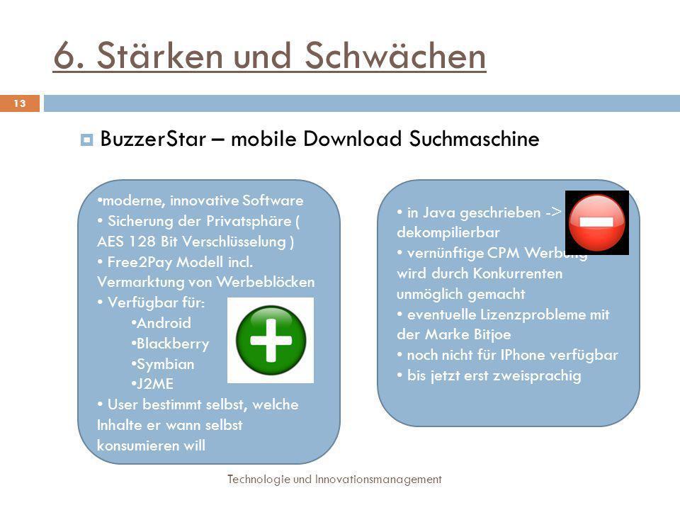 6. Stärken und Schwächen Technologie und Innovationsmanagement 13  BuzzerStar – mobile Download Suchmaschine Stärken: moderne, innovative Software Si