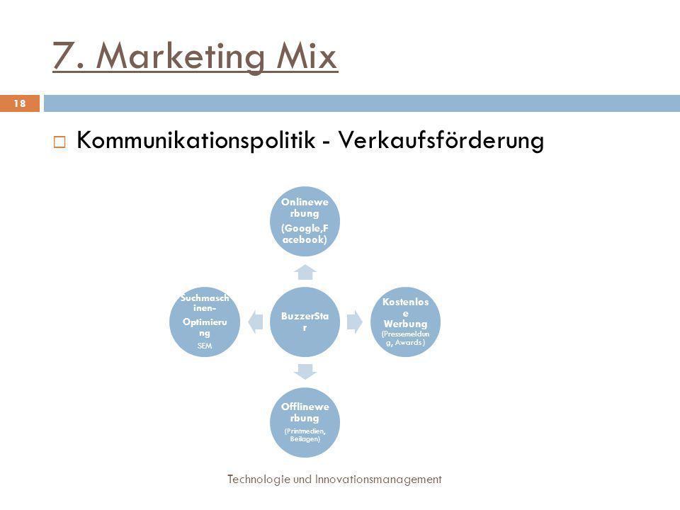 7. Marketing Mix Technologie und Innovationsmanagement 18  Kommunikationspolitik - Verkaufsförderung BuzzerSta r Onlinewe rbung (Google,F acebook) Ko