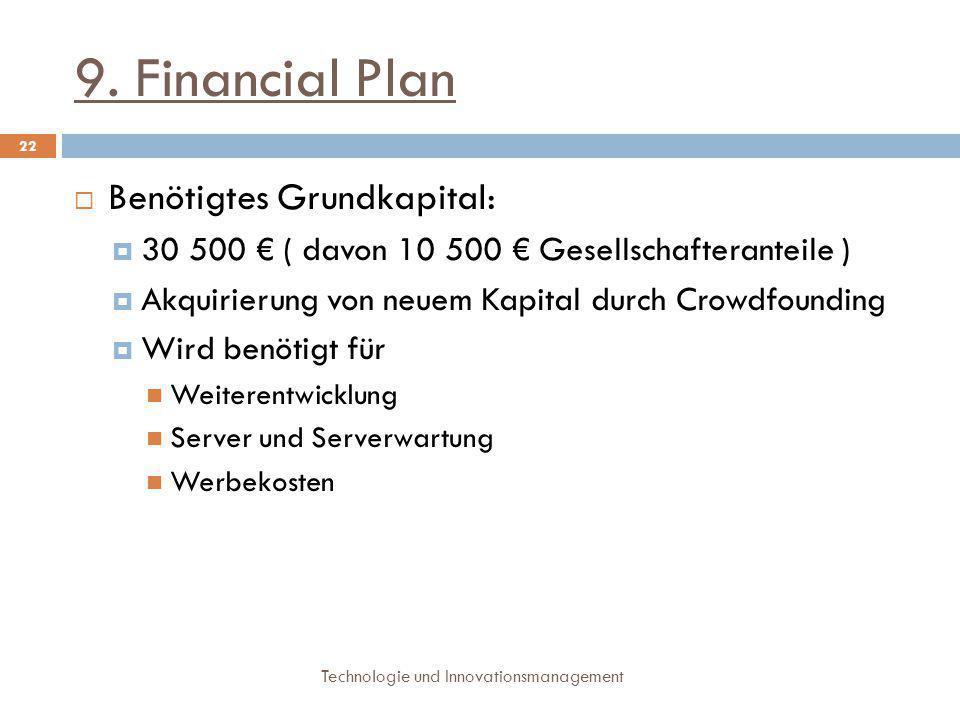 9. Financial Plan Technologie und Innovationsmanagement 22  Benötigtes Grundkapital:  30 500 € ( davon 10 500 € Gesellschafteranteile )  Akquirieru