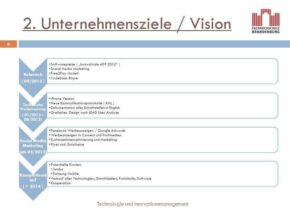 "2. Unternehmensziele / Vision 6 Technologie und Innovationsmanagement Relaunch ( 09/2012 ) Softwarepreise ( ""innovativste APP 2012"" ) Sozial Media Mar"