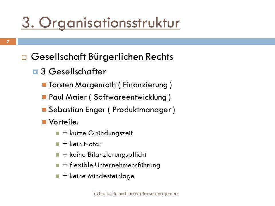 3. Organisationsstruktur Technologie und Innovationsmanagement 7  Gesellschaft Bürgerlichen Rechts  3 Gesellschafter Torsten Morgenroth ( Finanzieru