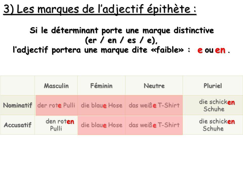 3) Les marques de l'adjectif épithète : Si le déterminant porte une marque distinctive (er / en / es / e), l'adjectif portera une marque dite «faible»