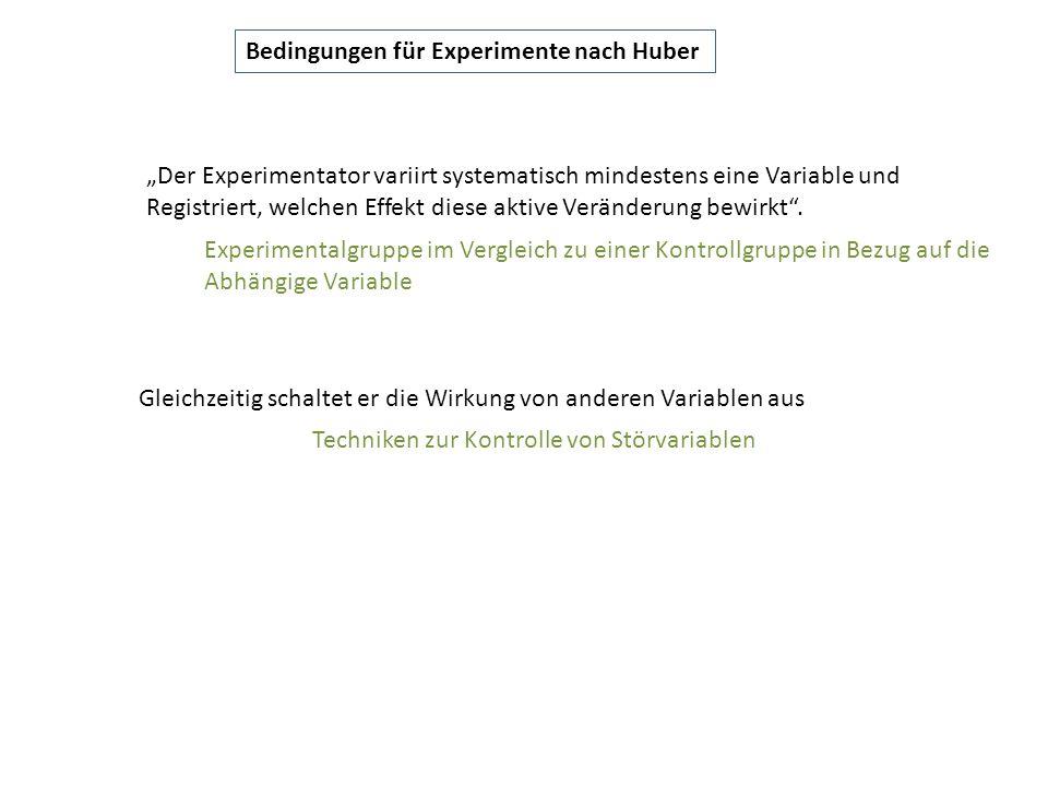 """Bedingungen für Experimente nach Huber """"Der Experimentator variirt systematisch mindestens eine Variable und Registriert, welchen Effekt diese aktive"""
