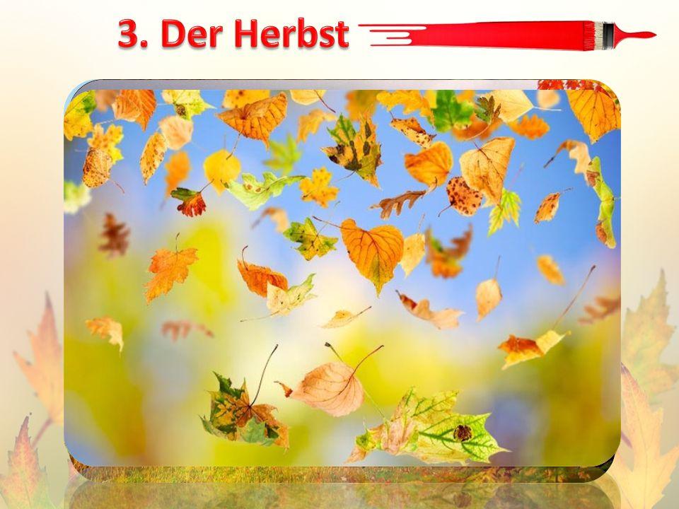 Es ist Herbst! Bunte Blätter fliegen. Bunte Blätter, rot und gelb, Auf der Erde liegen.