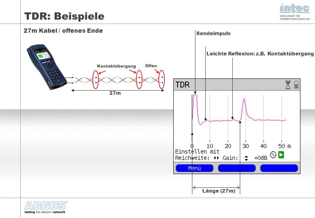 TDR: Beispiele 27m Kabel / offenes Ende Länge (27m) Sendeimpuls Leichte Reflexion: z.B.