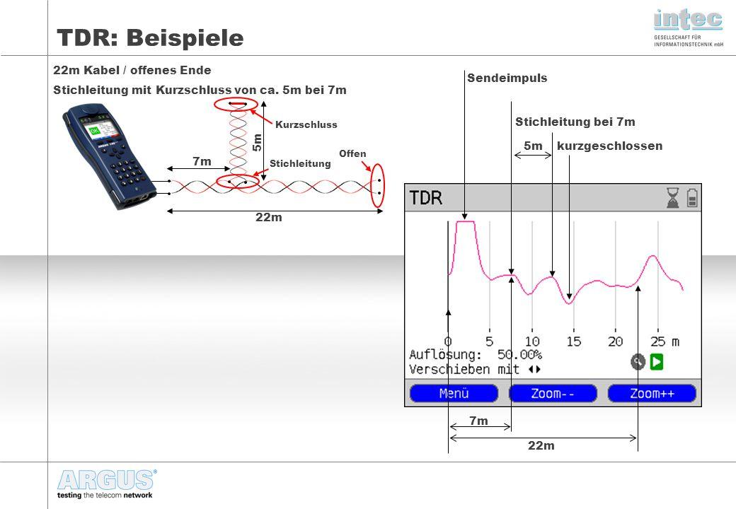 TDR: Beispiele 22m Kabel / offenes Ende Stichleitung mit Kurzschluss von ca.