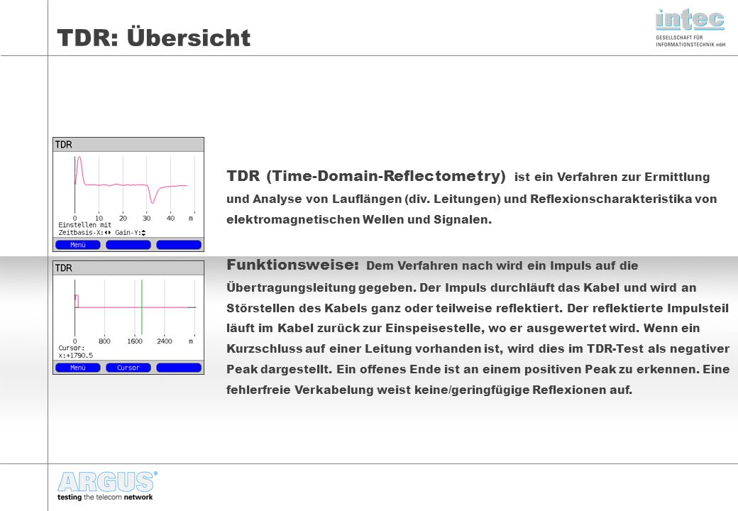 TDR: Funktionsweise Bestimmung von Entfernungen unter Berücksichtigung der Impulslaufzeit Die Laufzeit des Impulses vom ARGUS (Reflektometer) zur Störstelle und zurück wird gemessen und liefert eine Aussage über die Entfernung der Störstelle/Kabelende zum ARGUS.