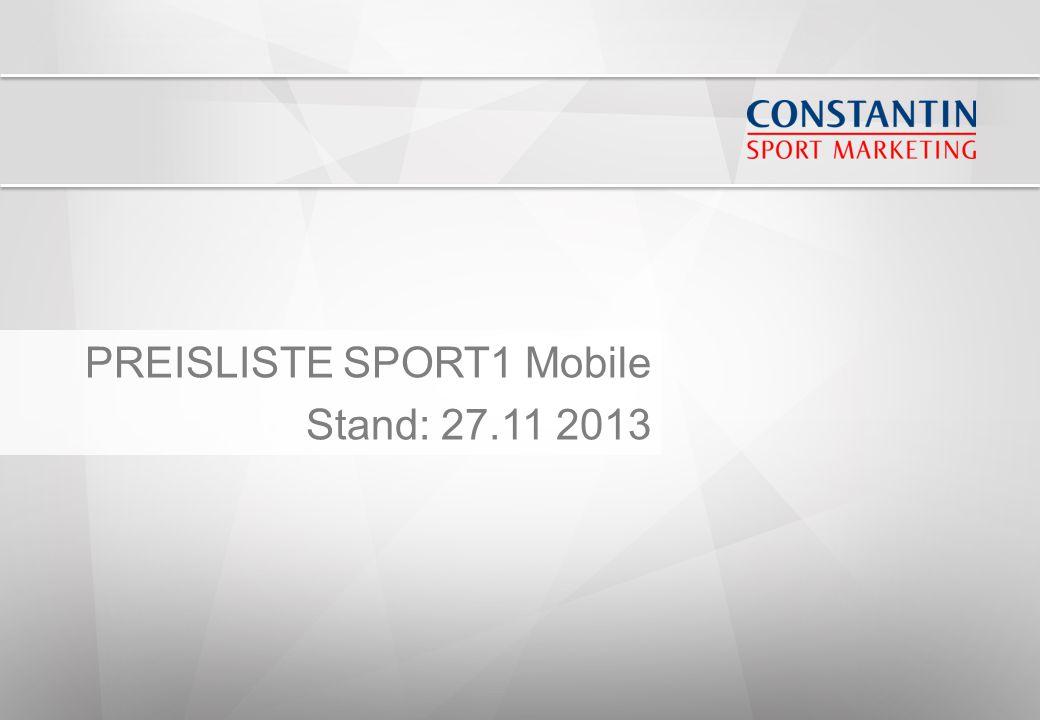 PREISLISTE SPORT1 Mobile Stand: 27.11 2013