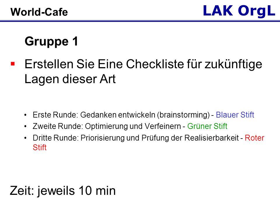 LAK OrgL World-Cafe Gruppe 1  Erstellen Sie Eine Checkliste für zukünftige Lagen dieser Art Erste Runde: Gedanken entwickeln (brainstorming) - Blauer