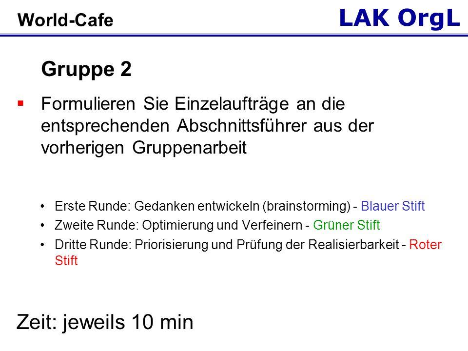 LAK OrgL World-Cafe Gruppe 2  Formulieren Sie Einzelaufträge an die entsprechenden Abschnittsführer aus der vorherigen Gruppenarbeit Erste Runde: Ged