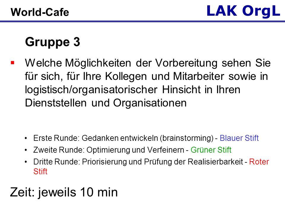 LAK OrgL World-Cafe - METHODIK  Aufteilung in drei Gruppen  Jede Gruppe wandert nach je 10 min im Uhrzeigersinn (zweimal) weiter  Jeweils ein Gruppenmitglied verbleibt einmal am Platz, erklärt die Aufgaben- stellung und d.
