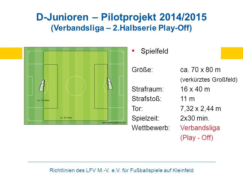 Richtlinien des LFV M.-V. e.V. für Fußballspiele auf Kleinfeld D-Junioren – Pilotprojekt 2014/2015 (Verbandsliga – 2.Halbserie Play-Off) Spielfeld Grö